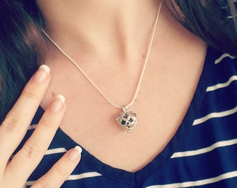 Heart and Celtic Knots Dainty Pendant and Lava Rock Essential Oil Aromatherapy Diffuser Cage Pendant Necklace: Choose Your Chain Style! L037