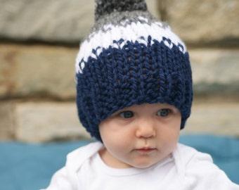 Knitted Baby Girl Pom Pom Hat, Newborn Baby Fair Isle Hat, Baby Knit Winter Hat, Newborn Children's Photo Prop, Navy and Gray Knit Baby Hat