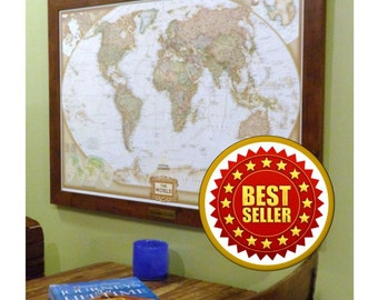 Framed World Push Pin Map with Brass Plate