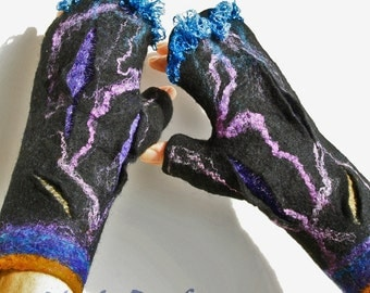 Black Nuno Felted Fingerless Gloves, Fingerless Mittens,Wet Felt Gauntlets,Felted Gloves,Felt Wrist Warmers,Felted Hand Warmers,Boho Gloves