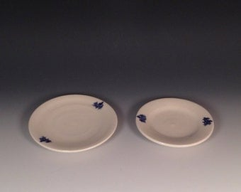 Blue-on-white small porcelain plate