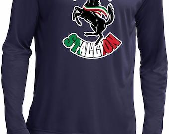 Italian Stallion Men's Moisture Wicking Long Sleeve Tee T-Shirt-STALLION-ST350LS