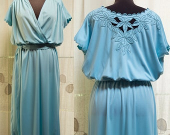 1960s Sky Blue Open Floral Embroidered Scalloped Sleeves Midi Summer Day Dress