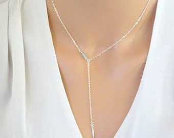 Aquamarine lariat necklace, Sterling silver y necklace, March birthstone jewelry, gemstone necklace