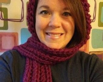 Hoodie Scarf, crocheted