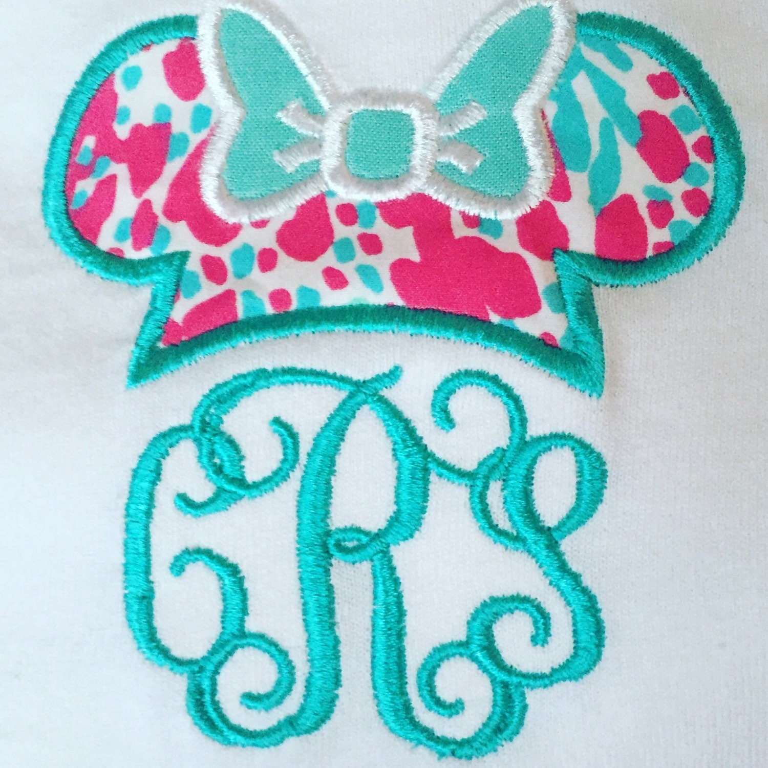 Lilly Pulitzer Fabric Minnie Mouse Lilly Pulitzer Monogram Short Sleeve Shirt