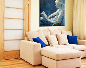 Girl Painting, Fine Art Print, Peaceful Art, Contemporary Art, Blue Painting Woman, Artwork, Living Room Décor, Bedroom Decor