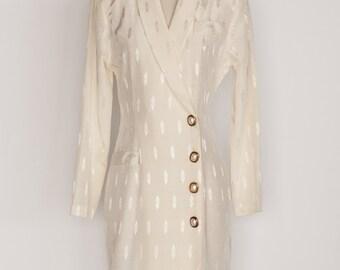 "Ivory Long Sleeve Blazer Wrap Dress / ""By Choice"" / Size 7"