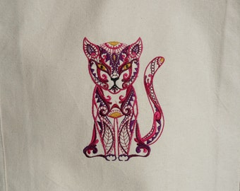Custom Embroidered Cat Canvas Tote Bag- Eco-Friendly Reusable Bag