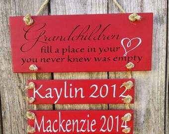 Grandchildren Fill a Place in Your Heart Slat Sign. Family, Grandparents, Personalized, Grandchild, Grandchildren