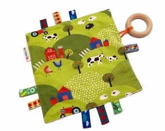 ribbon blanket organic boy, sensory blanket organic boy, eco friendly baby toy, sensory crinkle toy, crinkle blanket, teething ring boy