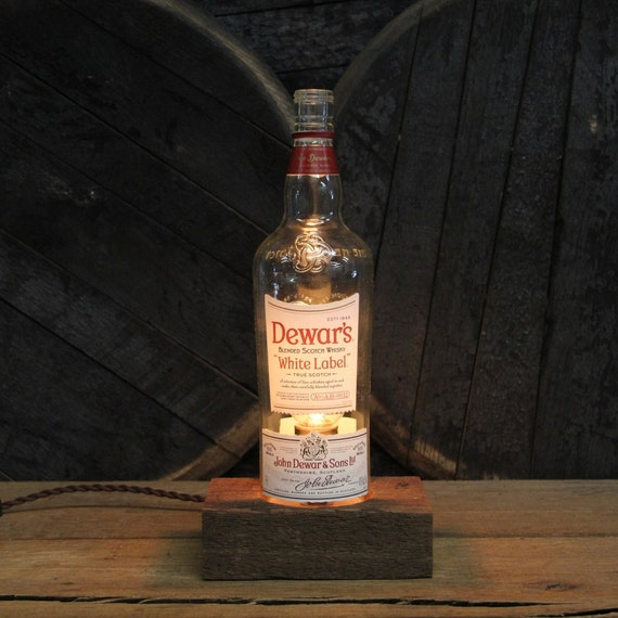 Dewar's White Label Scotch Lamp - Features Reclaimed Wood Base, Edison Bulb, Twisted Cloth Wire, In line Switch, And Plug, Upcycled Light