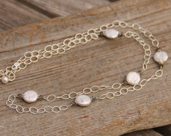 Freshwater pearls and sterling silver chain necklace