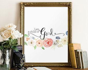 Baby girl nursery quote print, Bible verse art, Nursery wall art print, I am a child of God print, Instant download, Wall art BD576