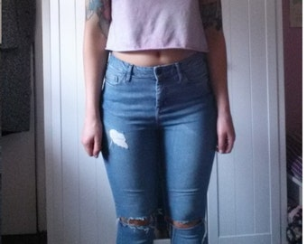 """Grunge blue denim skinny fit ripped jeans Waist size 28"""" SMALL"""