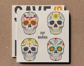 Mexican Sugar Skull Save The Date Wedding Invitations, Mexican Wedding  Invites, Sugar Skull Wedding
