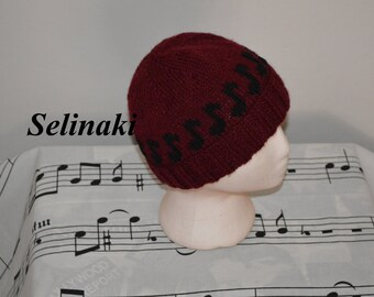 Knit Music Notes Burgundy Hat Beanie