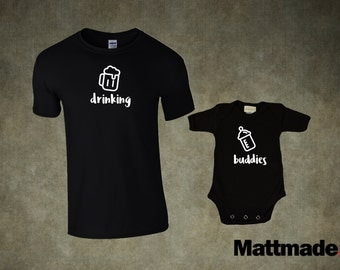 Dad & Baby Matching Shirts. Drinking Buddies Set - T-shirt and jumper for Dad and Baby