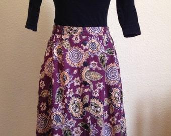 Tribal Fabric A Line Midi Skirt.  1980s do 1940s