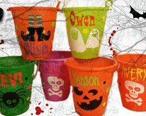 Halloween bucket, Personalized Halloween pail, bucket for use as trick or treat candy bag or party favor, black cat, witch, spooky, trick