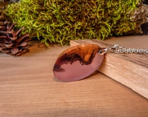 Dive in pink wooden pendant, nature pendant, resin necklace, wooden necklace, wood and resin necklace, pink resin necklace, reclaimed wood.