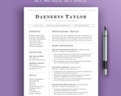 Professional Resume Template | Simple Resume Design | Instant Download | 4 Pages | Modern CV Template |  Business Resume Template | Word