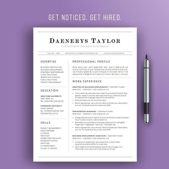 Professional Resume Template Simple Resume Design Instant