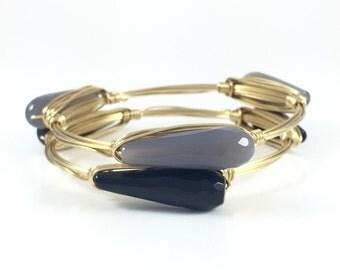 Grey Jade or Black Onyx Teardrop Wire Wrapped Bangle - Custom Bracelet - Gift Under 20 - Gift for Her - Wire Jewelry - Courtney And Courtnie