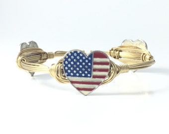 Heart USA Wire Wrapped Bangle - Courtney And Courtnie - Independence Day - America Bracelet - Handmade Jewelry - Patriotic - Fourth Of July