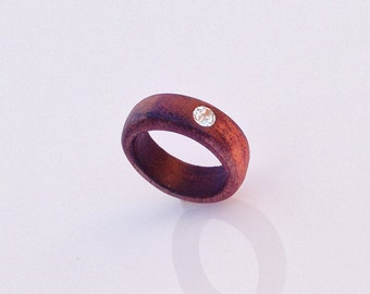 Ring wedding in wood and rhinestone, jewelry handmade in Italy, handmade exotic wood