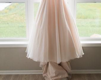 Designer Trade Chiffon Wedding Skirt with Ivory and Blush Chiffon Full Length
