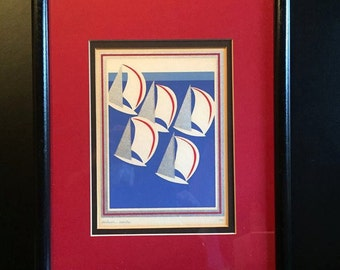 Gorgeous  Vintage Lithograph 'SILVER SALES' signed by artist