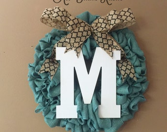 Front Door Initial Wreath, front door decor, front door wreath, summer wreath, home & living,wood monogram,gifts,wood letters,initial wreath