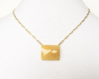 15% off! Orange Sapphire necklace, 14 k goldfill necklace with faceted Sapphire