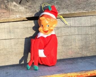 Vintage Christmas Pixie Elf Shelf Sitter, Christmas Ornament, Christmas Elf, Christmas Pixie Elf