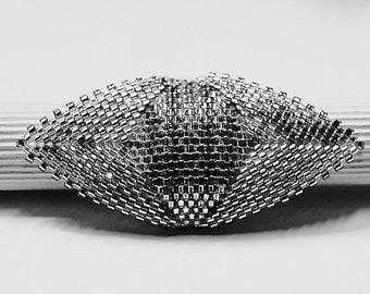Peyote syllable beadwork ring glass Pearl beading wedding embryo handmade