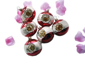 Set of 6 Vintage Glass Ornaments Indent, Silver Red Heart, Shabby Chic Ornament Silver Glitter, Christmas Decor Holiday