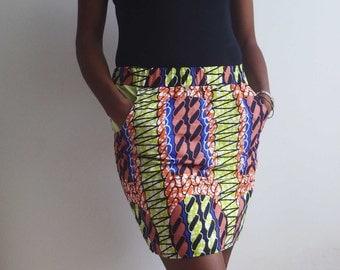 African Ankara Mini Skirt African clothing Wax print skirt