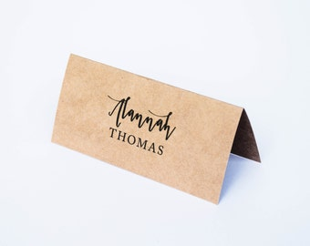 Wedding Place Cards Kraft Fold-over Placecards - Rustic Wedding Personalised Customised Place Cards
