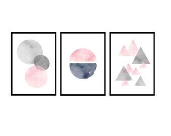 Set of 3 prints, Pink art prints, Grey wall art, Abstract watercolor Nursery prints Kids room art Scandinavian art Watercolor print Abstract
