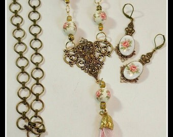 Beautiful Necklace and Earring set includes vintage German Beads & Cameos with Roses, using brass filigree stamps for a vintage feel.