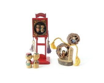 Vintage Small kokeshi dolls set, Lantern, Walnut, RefA