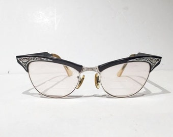 1950s American Optical Empress Gaymont Cateye Black Silver Etched Browline, Original Red Case, American Optical Cat Eye Empress Eyeglasses