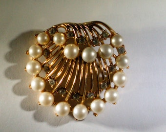 Signed Trifari  Pearl and Rhinestone Gold Shell Brooch