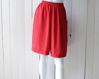 Women's Red Polka-dot  Shorts High Elastic Waist Small Size
