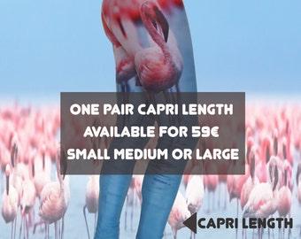 Unique Flamingo Capri Yoga Leggings • Eco-Friendly • Digital Printed • Recycled • Blue • Yoga Pants • Active Wear •