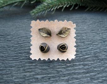 Birthday gift|for|women gift ideas for her Minimalist earring Everyday earring Black and gold earring Tiny flower earrings Small earring set