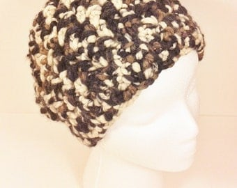 Brown black and cream multicolored slightly slouchy beanie 24