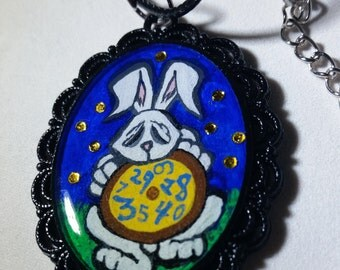 White Rabbit Holding Clock - Alice in Wonderland Inspired Hand Painted Pendant Necklace