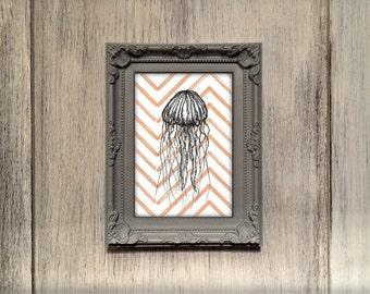 Jellyfish illustration print, under the sea nursery, marine biologist gift, kids room jellyfish wall art, unusual sealife print UK